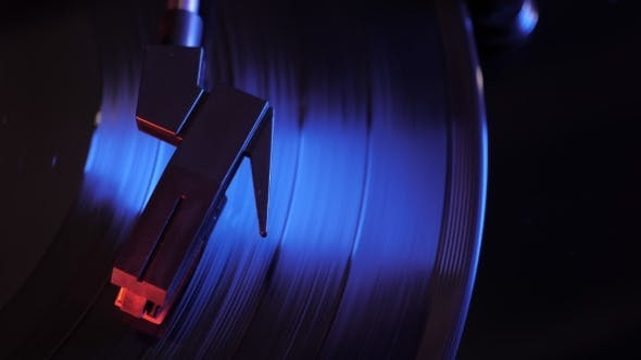 Thumbnail for Cinemagraph Loop of Vintage Turntable and Vinyl Record from Above