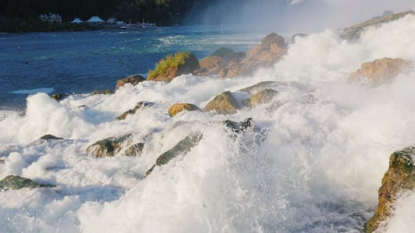 Thumbnail for Stream of Water Is Broken Against the Stones at the Foot of Niagara Falls