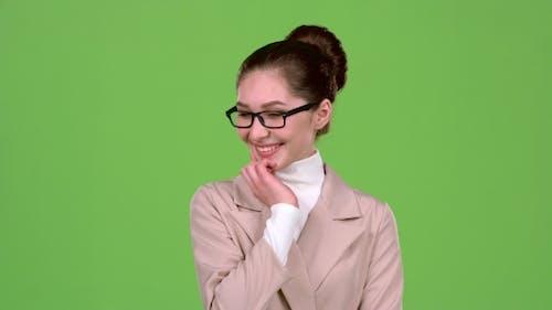 Girl Dreams of Her New Job. Green Screen