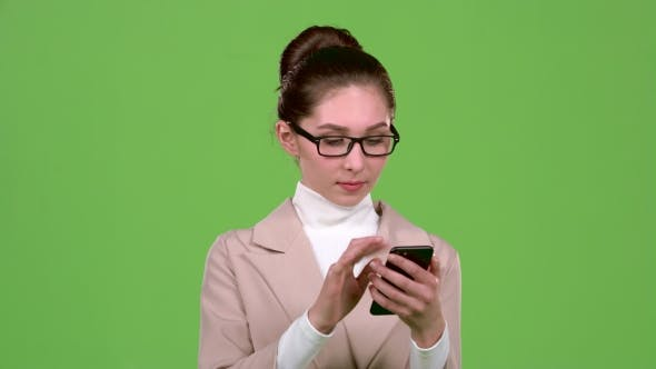 Thumbnail for Girl Office Manager Is Happy To Win the Lottery. Green Screen