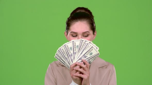 Thumbnail for Woman Received Paper Money for a Major Deal. Green Screen
