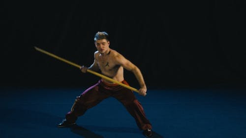 Concentrated Man Training Wushu Martial Arts