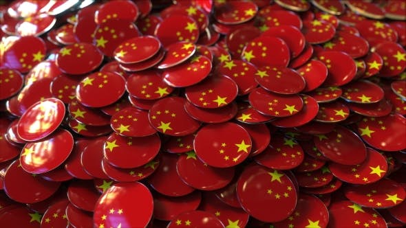 Thumbnail for Pile of Badges Featuring Flags of China