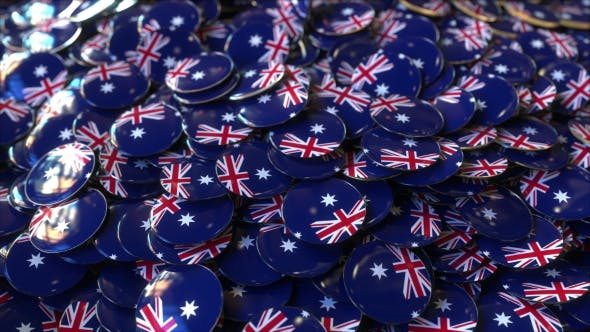 Thumbnail for Pile of Badges Featuring Flags of Australia