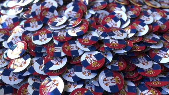 Thumbnail for Pile of Badges Featuring Flags of Serbia
