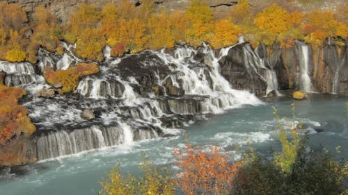 Hraunfossar Is a Series of Waterfalls Formed By Rivulets Streaming Over a Long Distance in Iceland