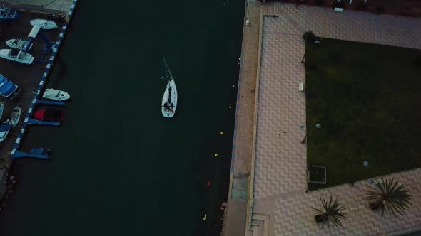 Thumbnail for View From Above on Small Yacht During Sunset on Mediterranean Sea Coast Near Valencia
