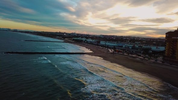 Thumbnail for View from Above During Sunset on Mediterranean Sea Coast near Valencia