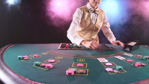Thumbnail for Casino Stickman Woman in Gold Vest Takes the Cards From Card Holder for Game in Poker. Black