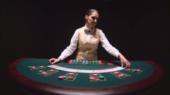Thumbnail for Casino Professional Dealer Shuffles the Poker Cards and Performing Trick with Cards. Black