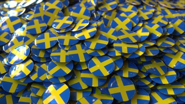 Thumbnail for Pile of Badges Featuring Flags of Sweden