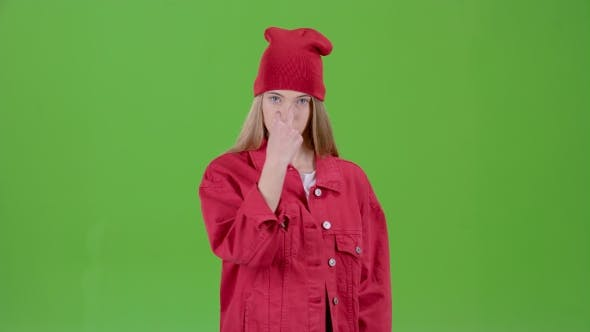 Thumbnail for Girl Is Angry and Gestures That She Is Unhappy. Green Screen