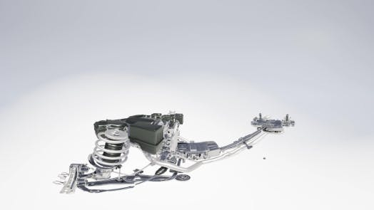 Cover Image for VR 360 Camera Moving Above Detailed Car Engine and Other Parts or the Car