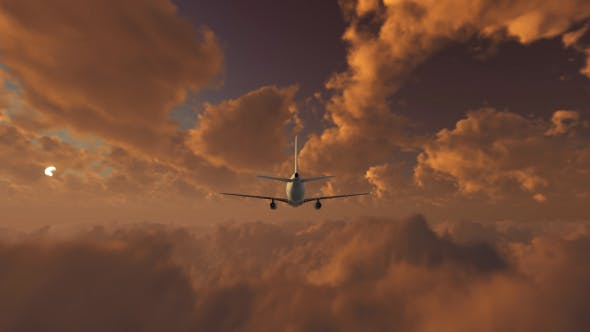 Thumbnail for Plane Takes Off At Sunse