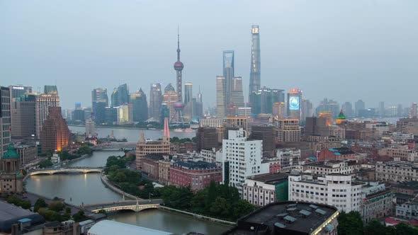 Shanghai skyline sunset timelapse