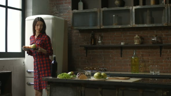 Thumbnail for Charming Woman Cooking Smoothie in the Kitchen