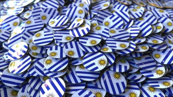 Thumbnail for Pile of Badges Featuring Flags of Uruguay