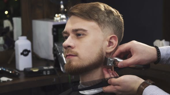 Thumbnail for Young Handsome Man Getting His Beard Trimmed By a Professional Barber