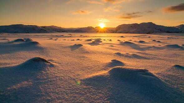 Thumbnail for Snowy Arctic Tundra at Sunset