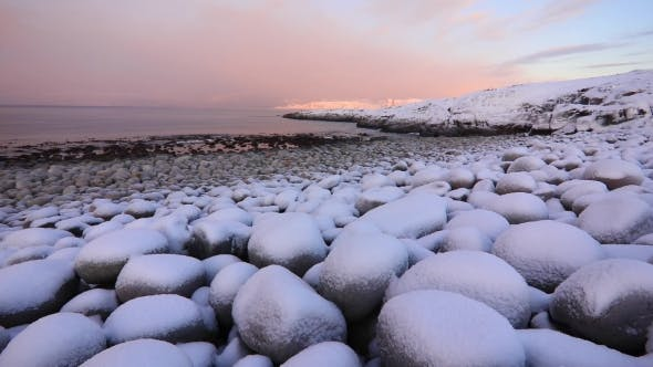 Thumbnail for The Icy Shore of the Barents Sea in Severe Frost