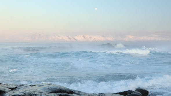 Thumbnail for Misty Stormy Sea in a Severe Frost. The Barents Sea