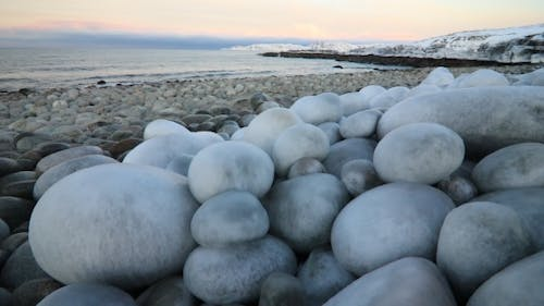 The Icy Shore of the Barents Sea in Severe Frost