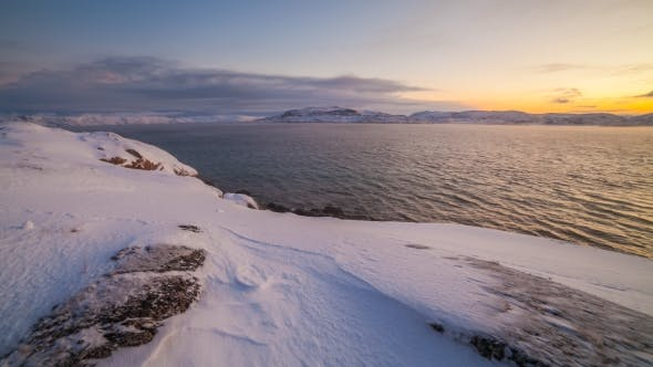 Thumbnail for Sunset on the Snow-covered Shore of the Barents Sea