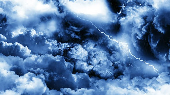 Cover Image for Flying Through Dark Night Thunder Clouds with Rain and Lightnings