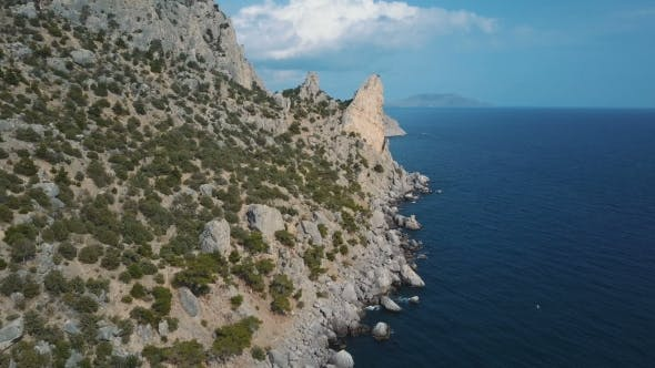 Amazing View of Karaul-oba Mountain in Crimea. Aerial Shot of Amazing Rock Formation.