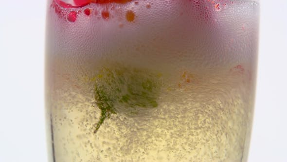 Thumbnail for Red Rosebud in a Glass Fills with Champagne. White Background.