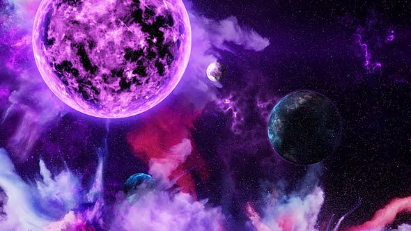 Thumbnail for Abstract Nebula in Space with Big Purple Star and Planets and Energy Flares