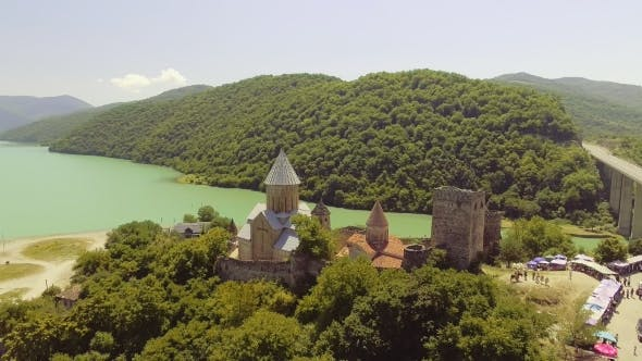 Thumbnail for Ananuri Is a Castle Complex on the Aragvi River in Georgia. Ananuri Castle Is Located About