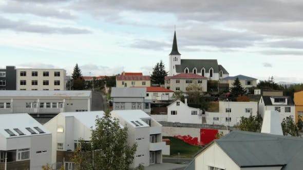 Thumbnail for Roofs and Houses in Small Icelandic Town in Autumn Day, Nordic Minimalistic Architecture