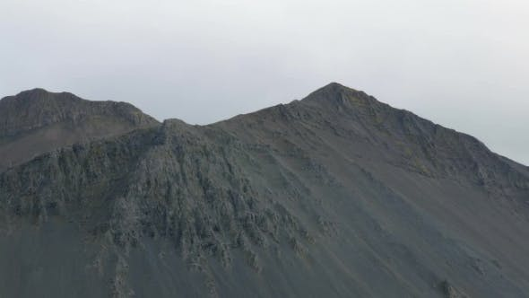 Thumbnail for Naked Black Rocks Tops in Cloudy Weather, Grey Sky and Nobody, Dramatic Nature of Iceland