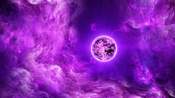 Thumbnail for Flying Through Abstract Purple Space Nebula to the Big Purple Star