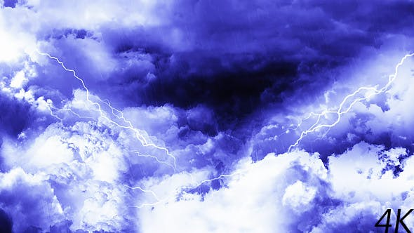 Thumbnail for Abstract Dark Night Thunder Clouds with Rain and Lightnings