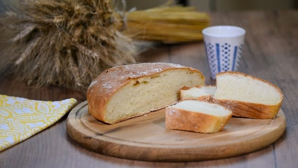 Thumbnail for Homemade Bread, Milk and Ripe Ears of Rye on a Wooden Background