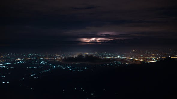 City Lights With Thunder Lightning