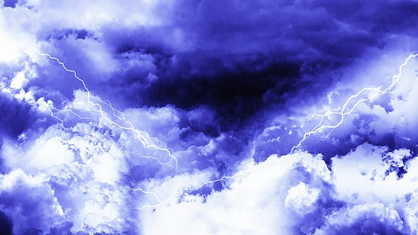 Thumbnail for Travel Through Dark Night Thunder Clouds with Rain and Lightnings