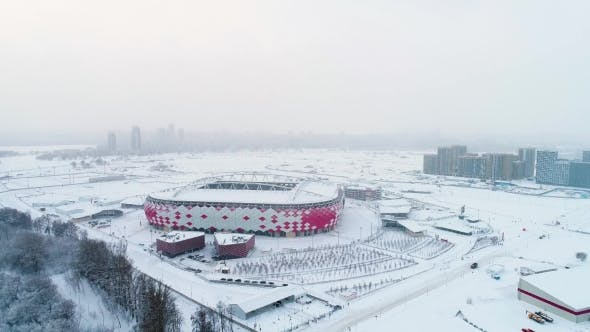 Thumbnail for Aerial View of a Freeway Intersection on Snow-covered Moscow
