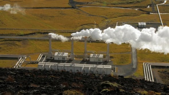 Thumbnail for Main Building of Geothermal Station Near of Reykjavik in Iceland, Top View of Emitted Steam