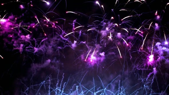 Thumbnail for Colorful Fireworks Exploding in the Night Sky. Celebrations and Events in Bright Colors.