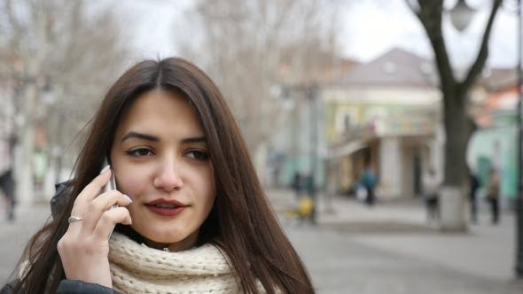 Cover Image for A Beautiful Girl Goes Along a Winter Street and Talks on Her Mobilein