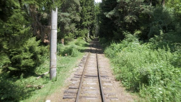 Thumbnail for View To the Railway From the Window in Last Wagon in the Forest - Georgia