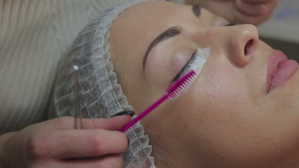 Thumbnail for Eyelash Extension Procedure. Woman Eye with Long Eyelashes.