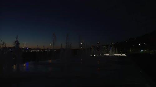 Night view of Fontaine Du Quai Paquet