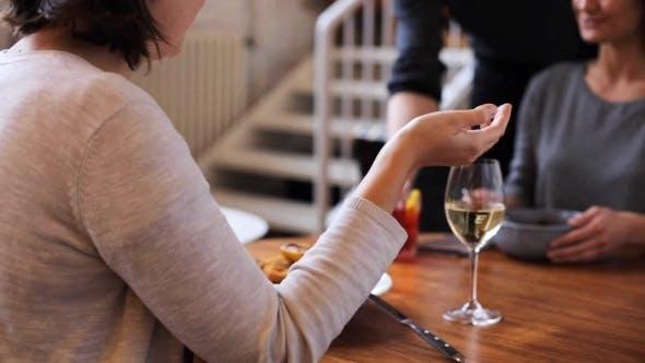 Thumbnail for Women Having Dinner and Talking at Restaurant 17