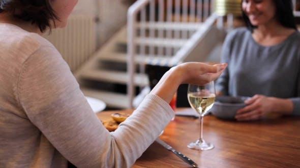 Thumbnail for Women Having Dinner and Talking at Restaurant 36
