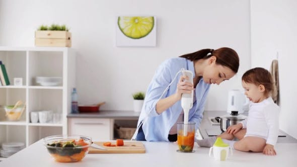 Thumbnail for Mother with Blender Cooking Baby Food at Home 7