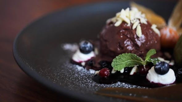 Thumbnail for Chocolate Ice Cream Dessert on Plate 1